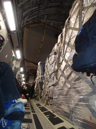 C-17 flight down. Cargo and passengers, same, same.
