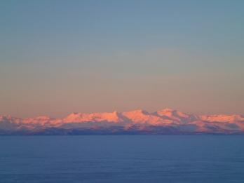Alpine glow on Royal Range.