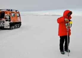 Ice drill and Pisten Bully.