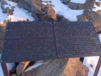Plaque on Observation Hill.