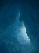 Inside an ice cave.