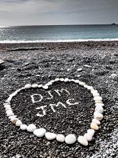Black pebble beach in Kaikoura, New Zealand.