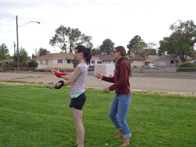 D & J assisting on kite flying