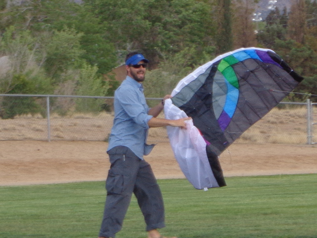 Dave doing all the work kite flying