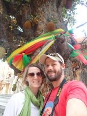 Ribbon tied Jackfruit tree at Doi Suthep, Wat Phra Thrat, Thailand.