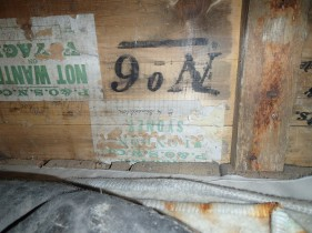 Shackleton's signature on his bed frame.