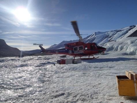 Helo picking Janae up on Taylor Glacier.