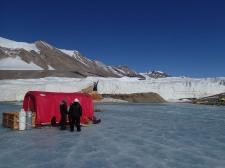 PolarHaven being assembled on Lake Bonney just below Blood Falls.