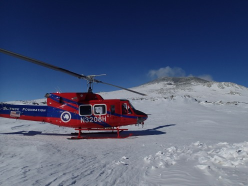 Helo dropping Janae off on Mt. Erebus.