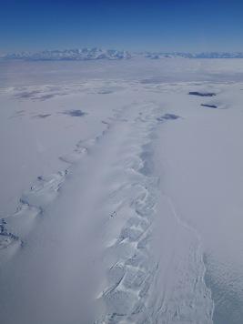 Erebus Glacier Tongue protruding onto the ice.