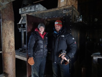 Dave and I inside Scott's Hut.