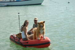 Dinghying the furry one to shore.