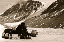 Dave strapping on his stabilizers while working in the Dry Valleys.