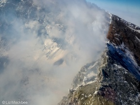 Looking into the crater of Mt. Erebus from a helo.