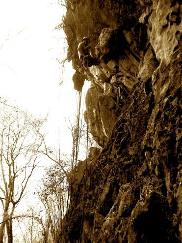 Climbing in Vietnam.