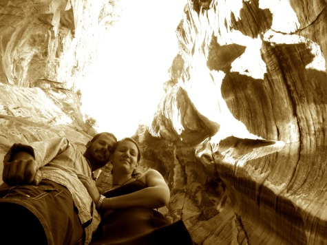Us at the bottom of a rappel down an Arizona canyon.