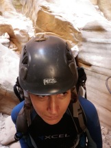 Helmet hitchhiker. Cayoneering Zion.