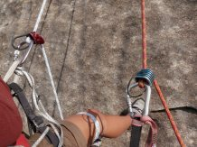 Dave and I doulbe-rappelled down Looking Glass climb.
