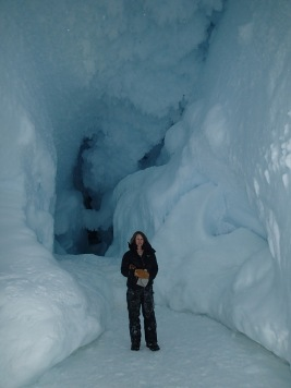 Janae inside an ice cave