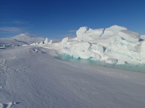 Pressure ridges and melt pools.